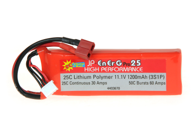 ENERG-PRO 25C LIPO 1200 (3S1P) 5C CHARGE (XH)