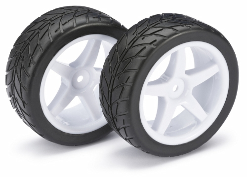WHEEL SET BUGGY 5-SPOKE / STREET FRONT WHITE 1:10 (2 PCS)